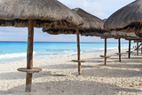 Palapas Lined up on the Beach, Cancun, Mexico Photographic Print by George Oze