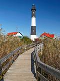 Boardwalk to Fire Island Lighthouse, NY Papier Photo par George Oze
