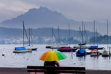 Umbrella On Lake Lucerne Photographic Print by Charles Bowman