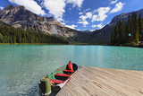 Boat at a Pier, Emerald Lake, Canada Photographic Print by George Oze