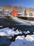 Winter Scenic with a Red Gristmill Photographic Print by George Oze