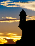 Silhouette of El Morro Fort, San Juan, PR Photographic Print by George Oze