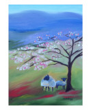 Sheep and Cherry Tree Giclee Print by Janel Bragg