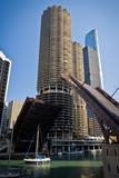 Chicago River Bridgelift at Marina Towers Photographic Print by Steve Gadomski