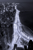 Lake Shore Drive Aerial Black White Photographic Print by Steve Gadomski