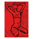 Sitting Nude in Red Giclee Print by Janel Bragg