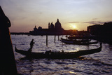 Sunset with Gondolas, Venice, Italy Photographic Print by George Oze