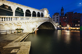 Rialto Bridge At Night, Venice, Italy Photographic Print by George Oze