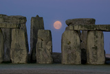 Stonehenge Moon Photographic Print by Charles Bowman