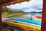 Boats on a Dock, Maligne Lake, Canada Photographic Print by George Oze