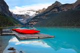 Canoes of Lake Louise, Alberta, Canada Photographic Print by George Oze