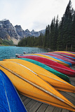 Canoes on a Dock, Moraine Lake, Canada Photographic Print by George Oze
