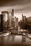 Chicago City View Afternoon BW Photographic Print by Steve Gadomski