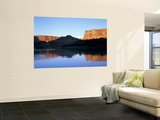 Moon & Cliffs at Sunrise Above Green River, Mineral Bottom, Colorado Plateau, Utah, USA Wall Mural by Scott T. Smith