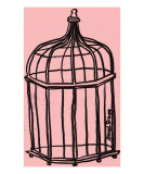 Birdcage in Pink Giclee Print by Janel Bragg