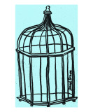 Birdcage in Aqua Giclee Print by Janel Bragg