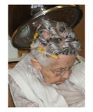 Old Woman Under Hair Dryer Giclee Print by Janel Bragg
