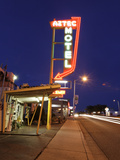 Aztec Motel Neon Sign, Rt 66, Albuqurque, NM Photographic Print by George Oze