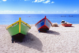 Boats Stored on a Caribbean Beach, Puerto Rico Photographic Print by George Oze