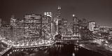 Chicago River Panorama BW Photographic Print by Steve Gadomski