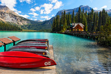 Boats on the Dock, Emerald Lake, Canada Photographic Print by George Oze