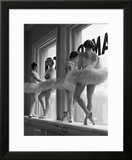Ballerinas on Window Sill in Rehearsal Room at George Balanchine's School of American Ballet Framed Photographic Print by Alfred Eisenstaedt