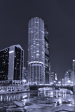 Marina City on the Chicago River BW Photographic Print by Steve Gadomski