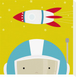 Peek-a-Boo Heroes: Astronaut Stretched Canvas Print by Yuko Lau