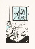 Le Lotus Bleu: Tintin with Tea Sketch Affiche par Hergé (Georges Rémi)