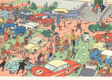 Tintin and the Red Sea Sharks: Car Rally Prints by Herg&#233; (Georges R&#233;mi) 