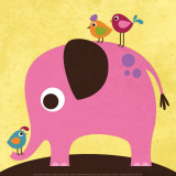 Elephant with Birds Poster von Nancy Lee