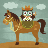 Cowboy Owl on Horse Art by Nancy Lee
