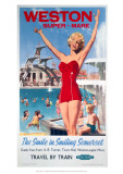 Weston-Super-Mare, the Smile in Smiling Somerset, Girl in Red at the Swimming Pool Giclee Print