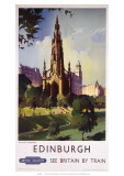 Edinburgh: The Scott Monument, BR, c.1950s Giclee Print