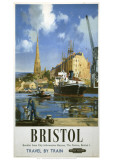 Bristol Boat and Crane Giclee Print