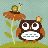 Owl Looking at Snail Posters by Nancy Lee