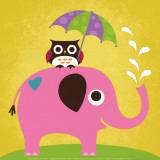 Elefante y búho con paraguas Lámina por Nancy Lee