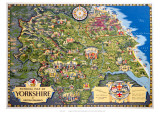 Pictorial Mapa deYorkshire Lámina giclée