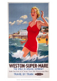 Weston-Super-Mare, the Smile in Smiling Somerset, Girl in Red, Pier in Background Giclee Print