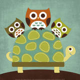 Three Owls on Turtle Plakater af Nancy Lee