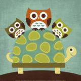Three Owls on Turtle Kunstdrucke von Nancy Lee