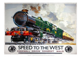 Speed to the West, Cornwall, Devon, Somerset, Wales GWR - Giclee Baskı