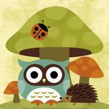 Owl and Hedgehog Reprodukcje autor Nancy Lee