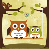 Two Owls on Swing Prints by Nancy Lee