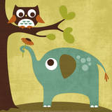 Owl and Elephant Print by Nancy Lee