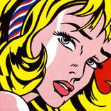 Jente med hårbånd, c.1965 Plakater av Roy Lichtenstein