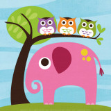 Elefant und drei Eulen Kunstdrucke von Nancy Lee