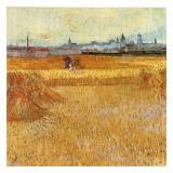 Champ De Blé Avec Vue Sur Arles Plakater af Vincent van Gogh