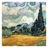 Champ De Bl&#233; Avec Cypres Print by Vincent van Gogh