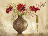 Red Gerberas - Goldfoil Art by Anna Field